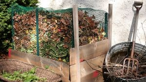 compost bin with wire mesh around it